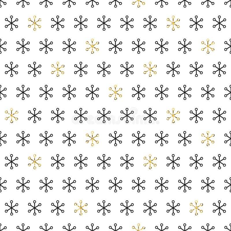 在白色背景的金黄雪花 圣诞快乐假日和新年快乐庆祝 季节抽象无缝 皇族释放例证