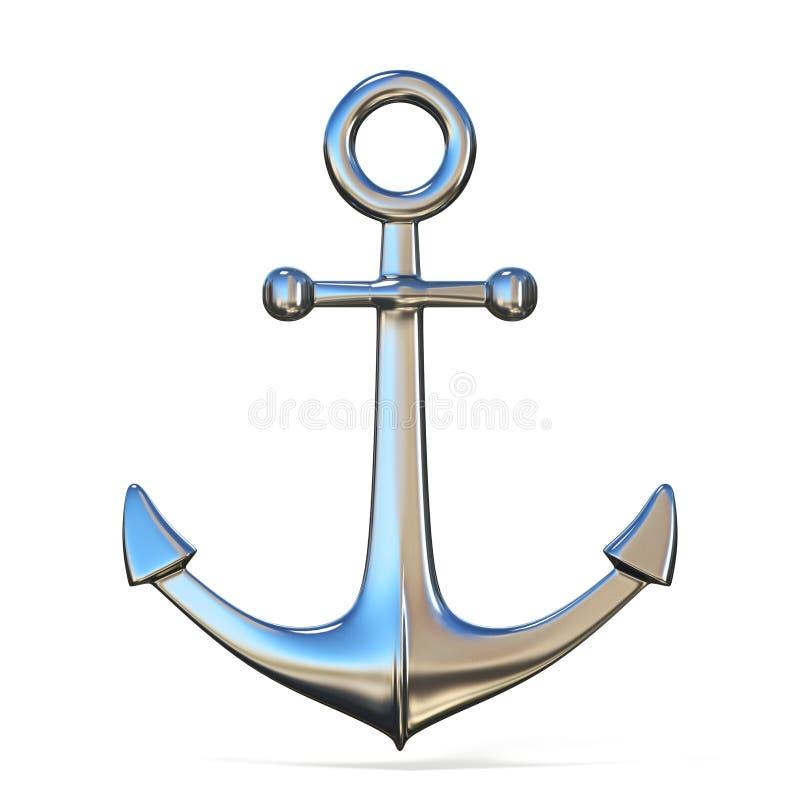 在白色背景的钢船锚3D翻译例证 库存例证