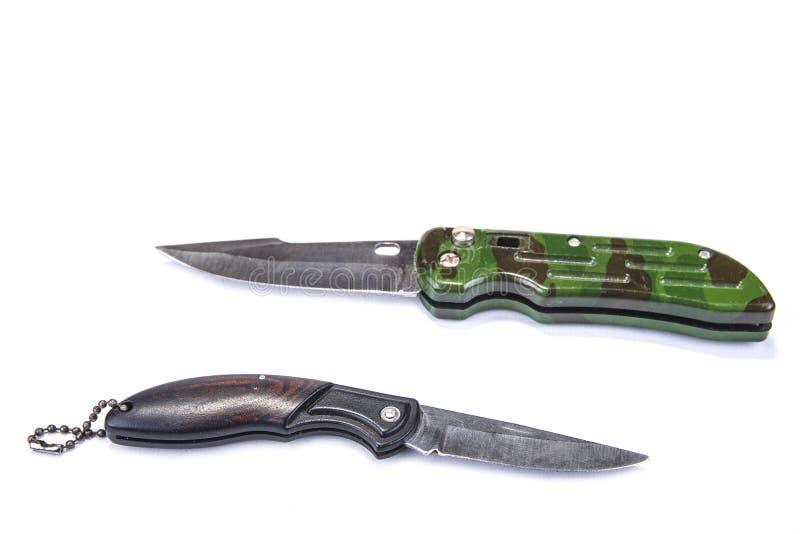 在白色背景的铅笔刀或军队小折刀 免版税库存图片