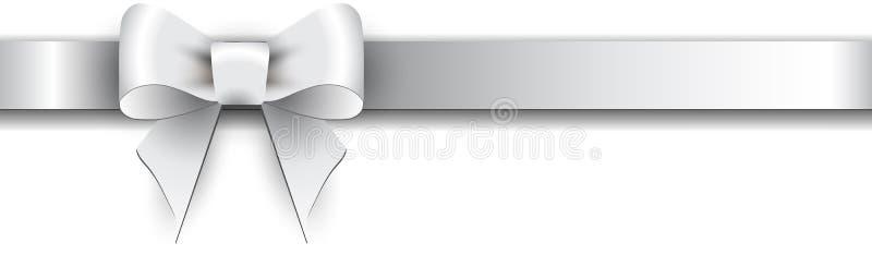 在白色背景的银色弓 库存图片