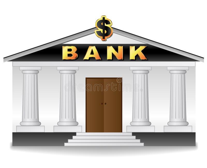 在白色背景的银行大楼 皇族释放例证
