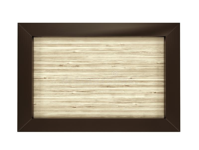 在白色背景的长方形木框架 3d回报 皇族释放例证