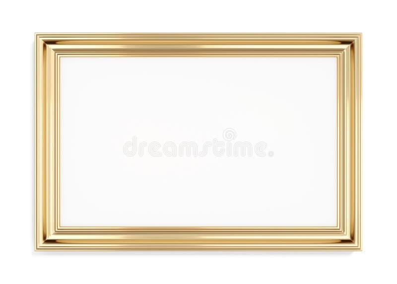 在白色背景的长方形金画框 3d翻译 向量例证