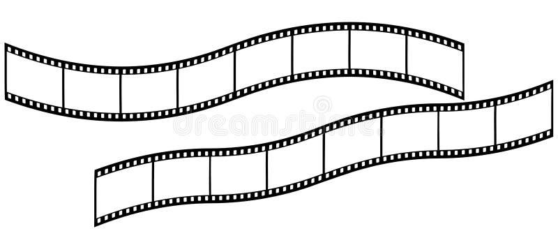 在白色背景的长的弯曲的Filmstrips 免版税图库摄影