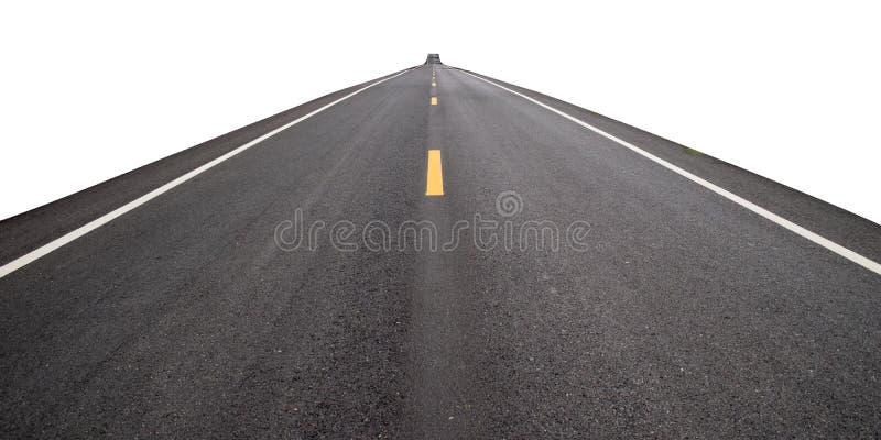在白色背景的长的透视路孤立 免版税图库摄影
