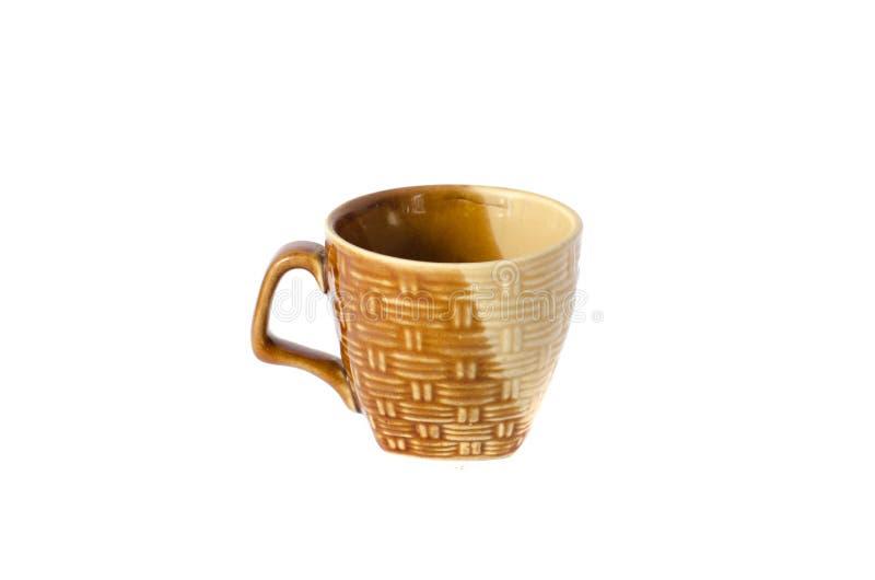 在白色背景的陶瓷杯子孤立 免版税库存照片