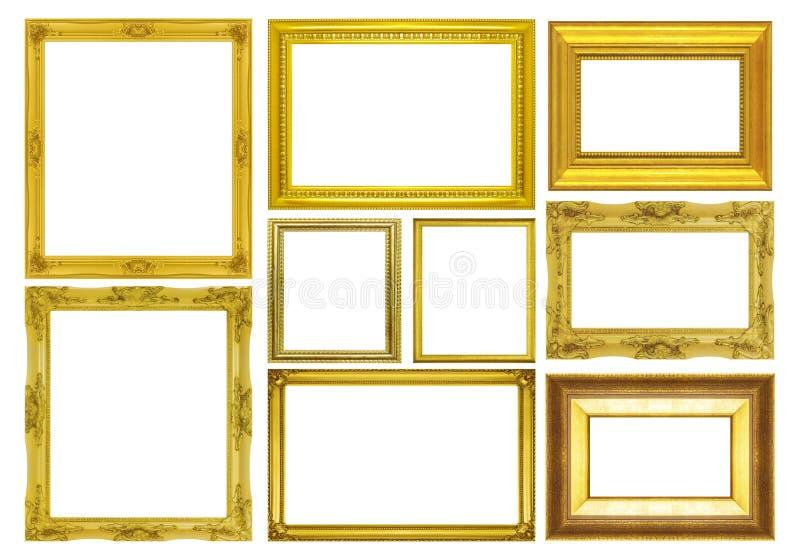 在白色背景的集合金黄框架 图库摄影
