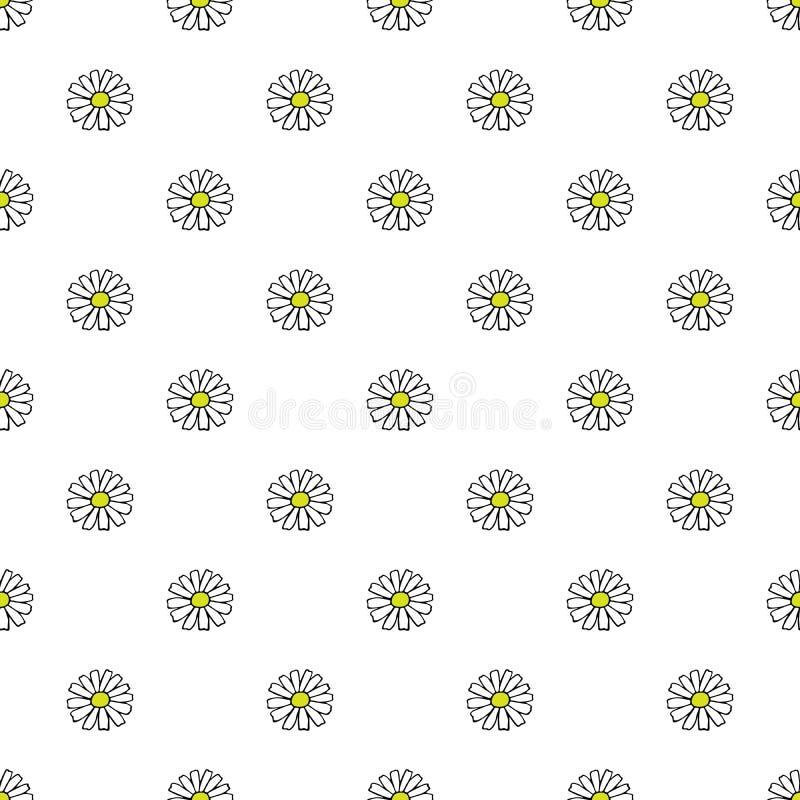 在白色背景的雏菊手拉的样式 也corel凹道例证向量 免版税库存图片