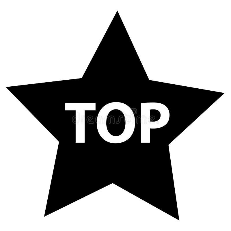 在白色背景的顶面星 平的样式 yo的黑星象 库存例证