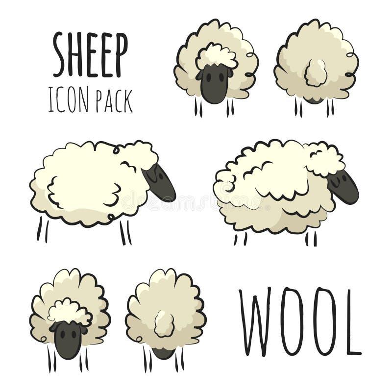 在白色背景的风格化五颜六色的手拉的绵羊象组装 库存例证