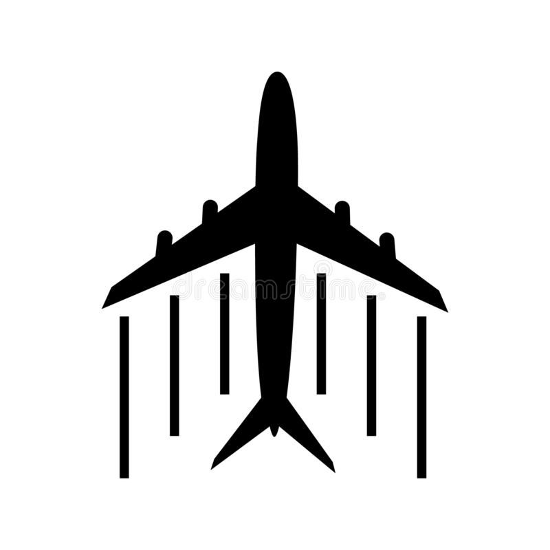 在白色背景的飞机象 飞机旅行概念,在被隔绝的背景的标志 浅黑飞机飞行和leavi 向量例证