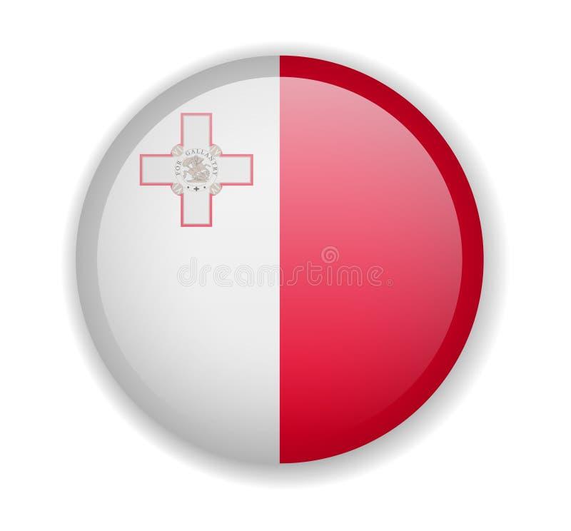 在白色背景的马耳他旗子圆的明亮的象 皇族释放例证