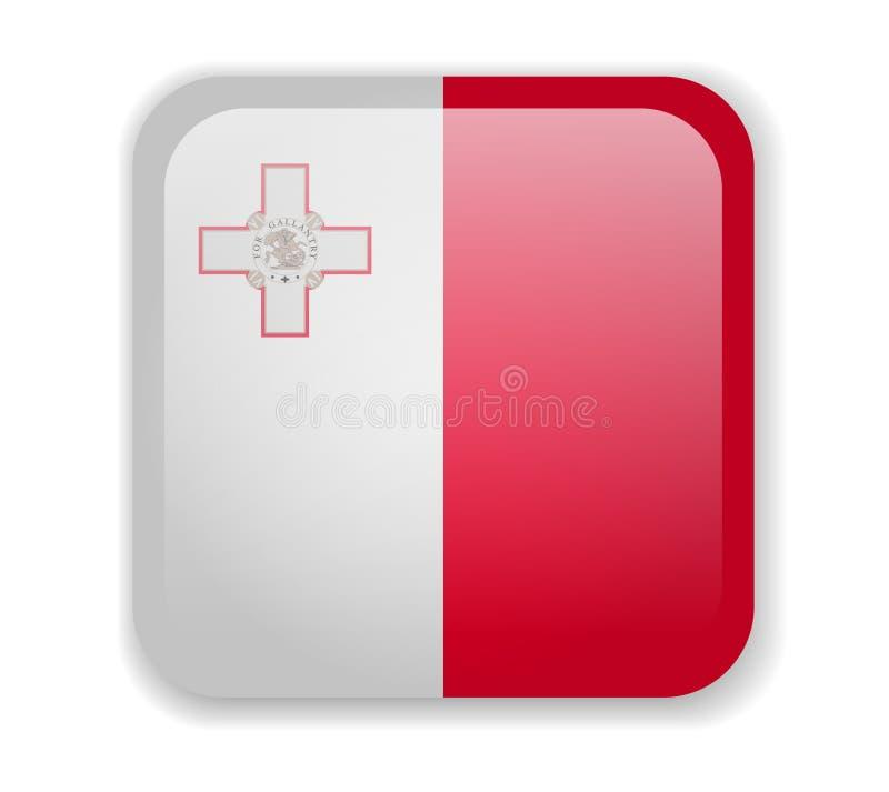 在白色背景的马耳他旗子明亮的方形的象 皇族释放例证