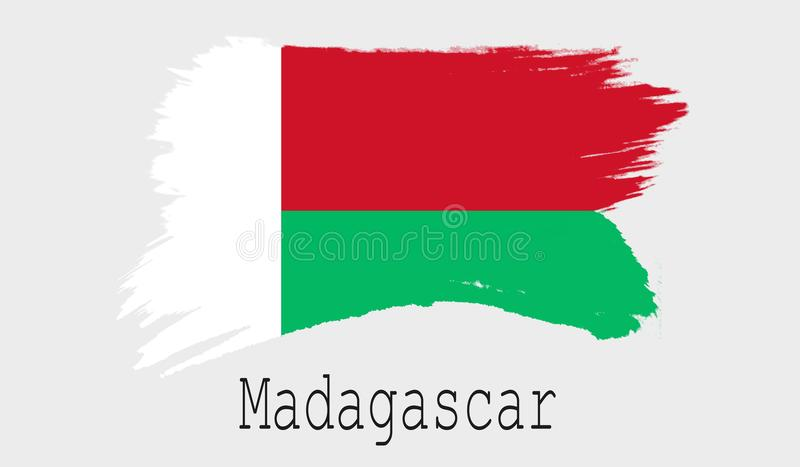 在白色背景的马达加斯加旗子 皇族释放例证