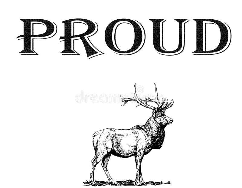 在白色背景的骄傲的鹿 山风景的手拉的例证与鹿的 库存例证