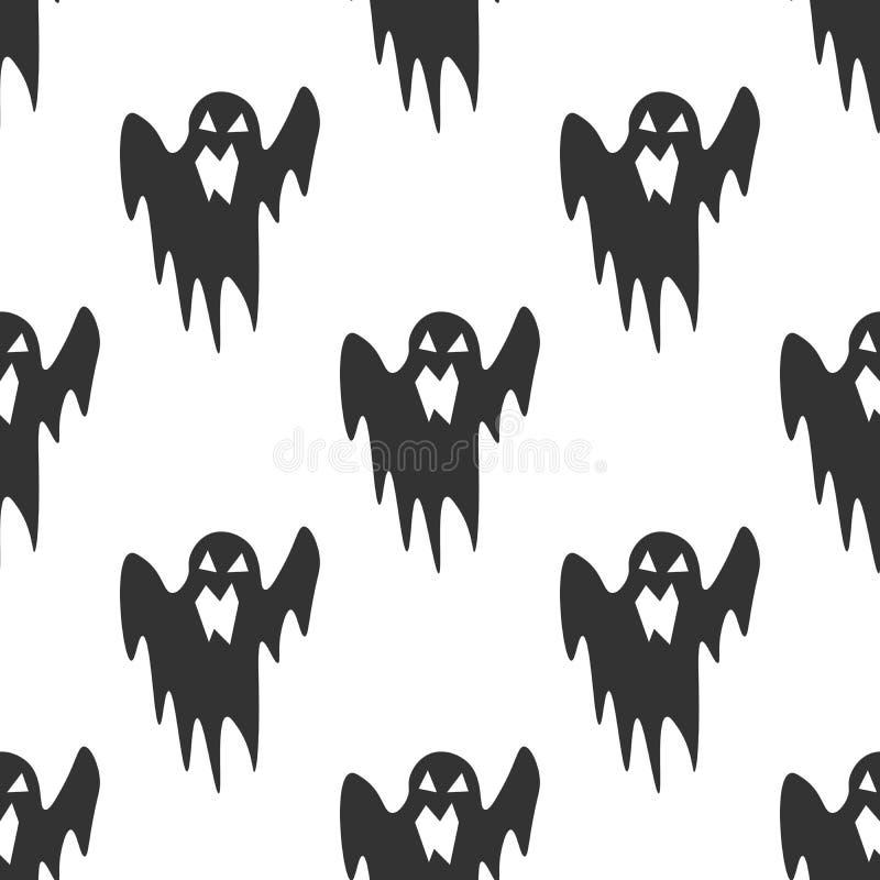 在白色背景的鬼魂无缝的样式 黑象万圣夜平的设计传染媒介 库存例证