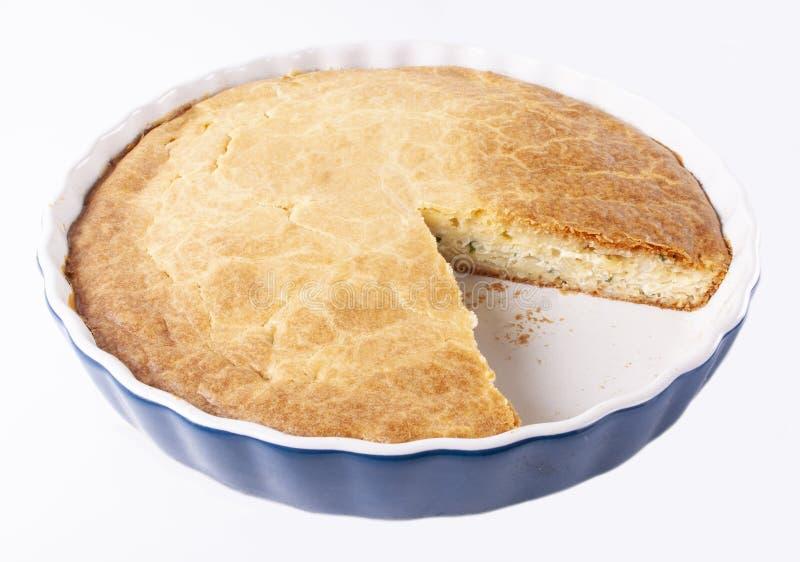 在白色背景的鲜美新鲜的自创饼 库存图片