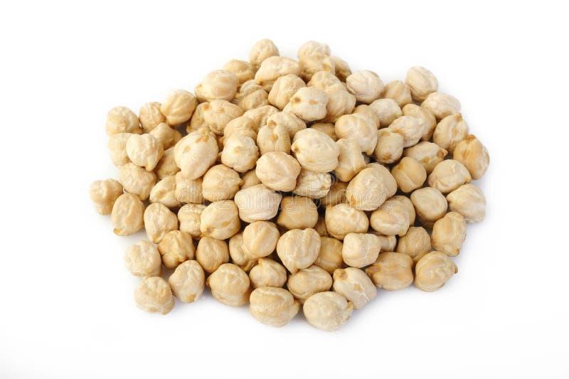 在白色背景的鹰嘴豆豆 免版税库存图片