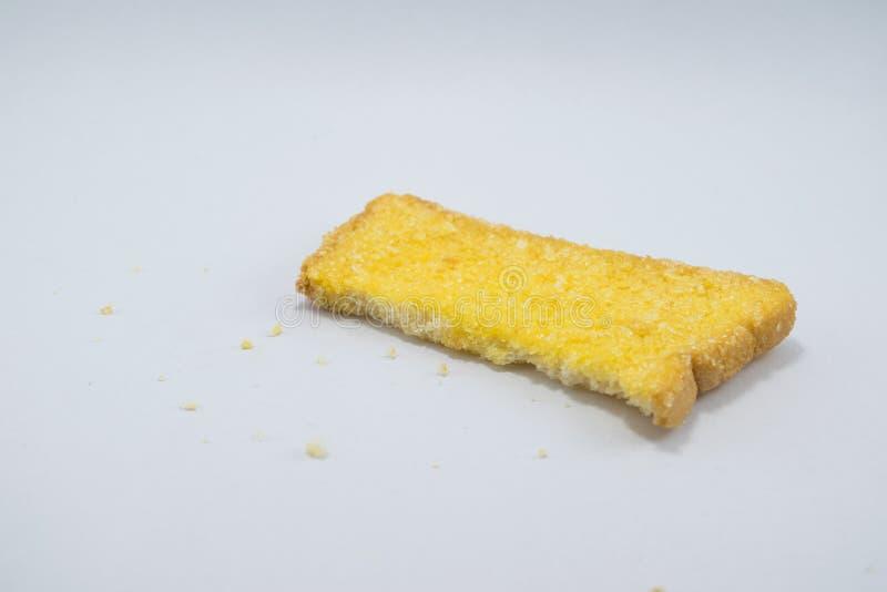 在白色背景的黄油曲奇饼饼干 免版税库存照片