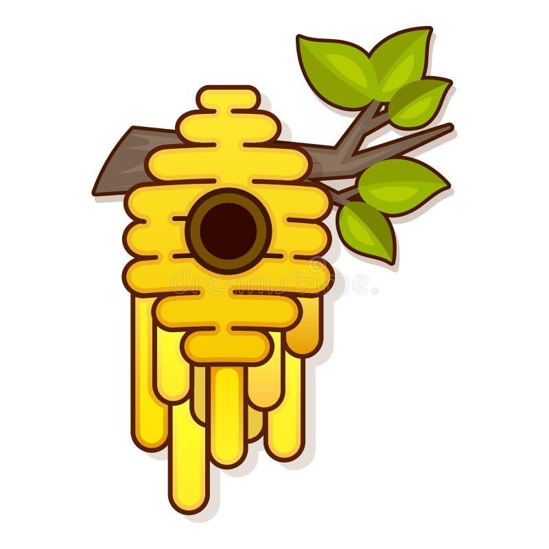 在白色背景的黄色蜂蜂房 蜂蜂房孤立 皇族释放例证