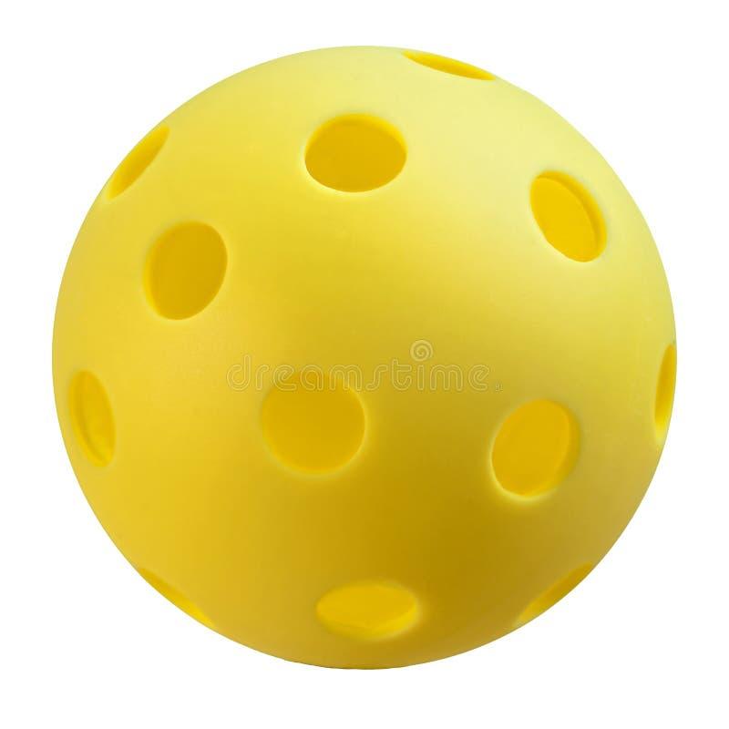 在白色背景的黄色Pickleball 免版税库存图片