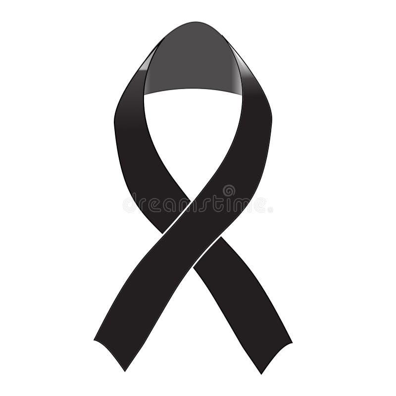 在白色背景的黑了悟丝带 哀悼和黑瘤标志 您的网站设计的黑了悟丝带象,商标 皇族释放例证