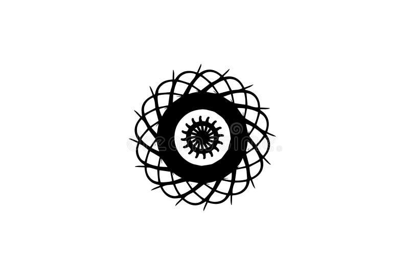 在白色背景的黑传染媒介坛场 抽象大奖章装饰 在未来派样式的圆的装饰 皇族释放例证