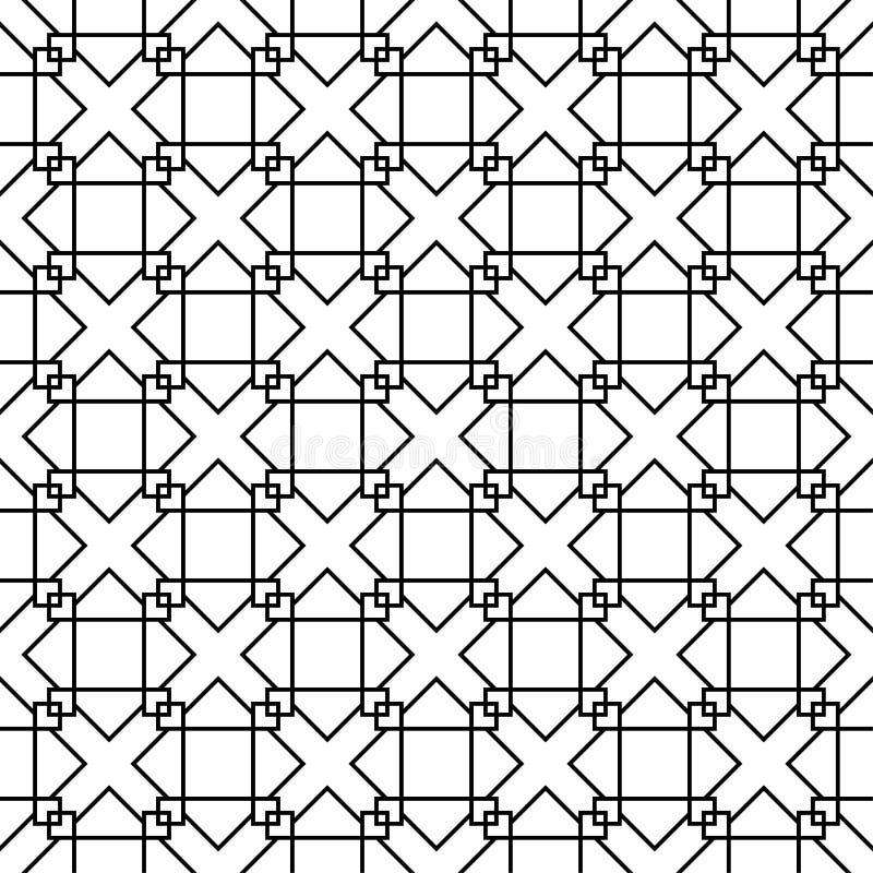 在白色背景的黑几何装饰品 无缝的模式 向量例证