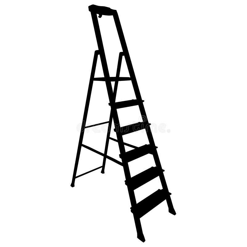 在白色背景的黑剪影工具楼梯 皇族释放例证