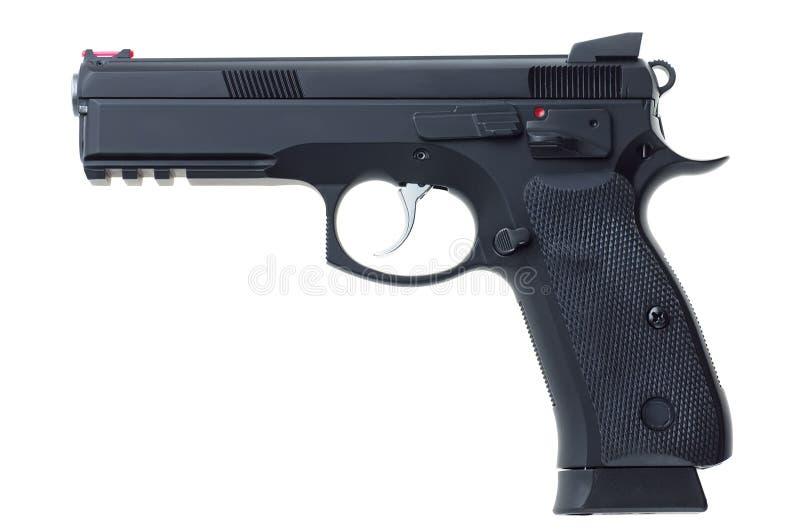 在白色背景的黑手枪 库存照片