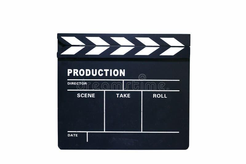 在白色背景的黑拍板木头 免版税库存照片