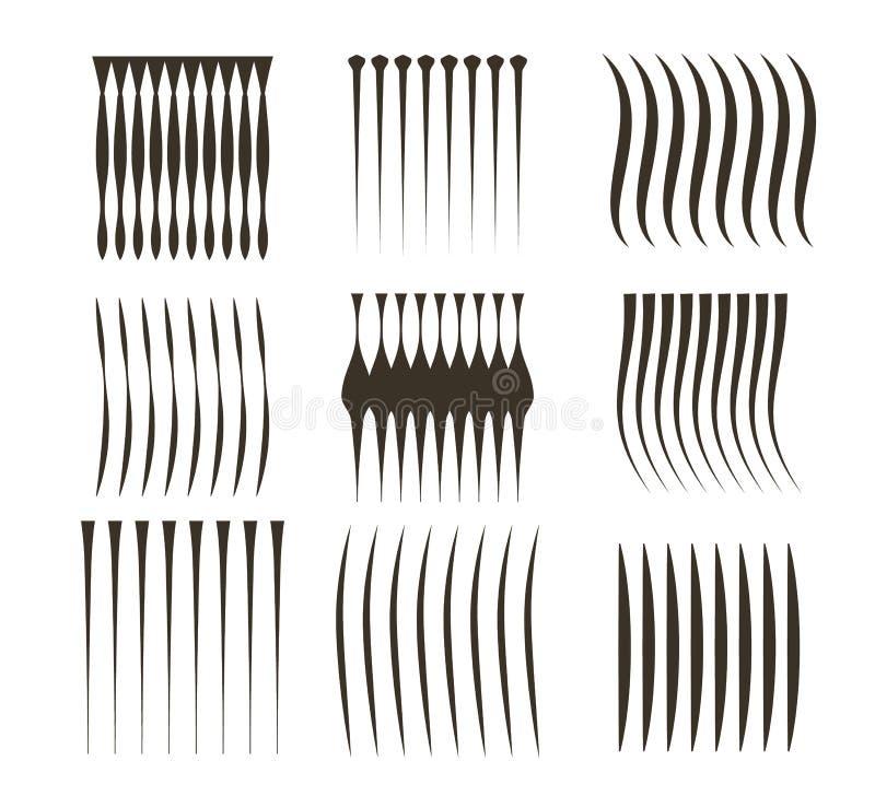 在白色背景的黑线 速度线染黑可笑的传染媒介元素 向量例证