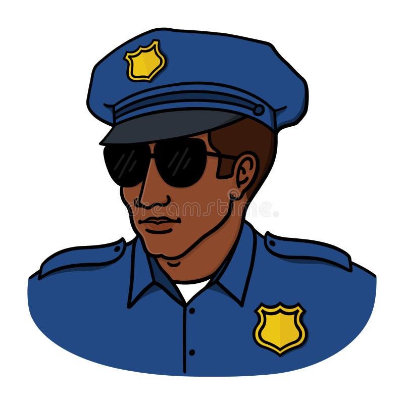 在白色背景的黑警察例证 向量例证