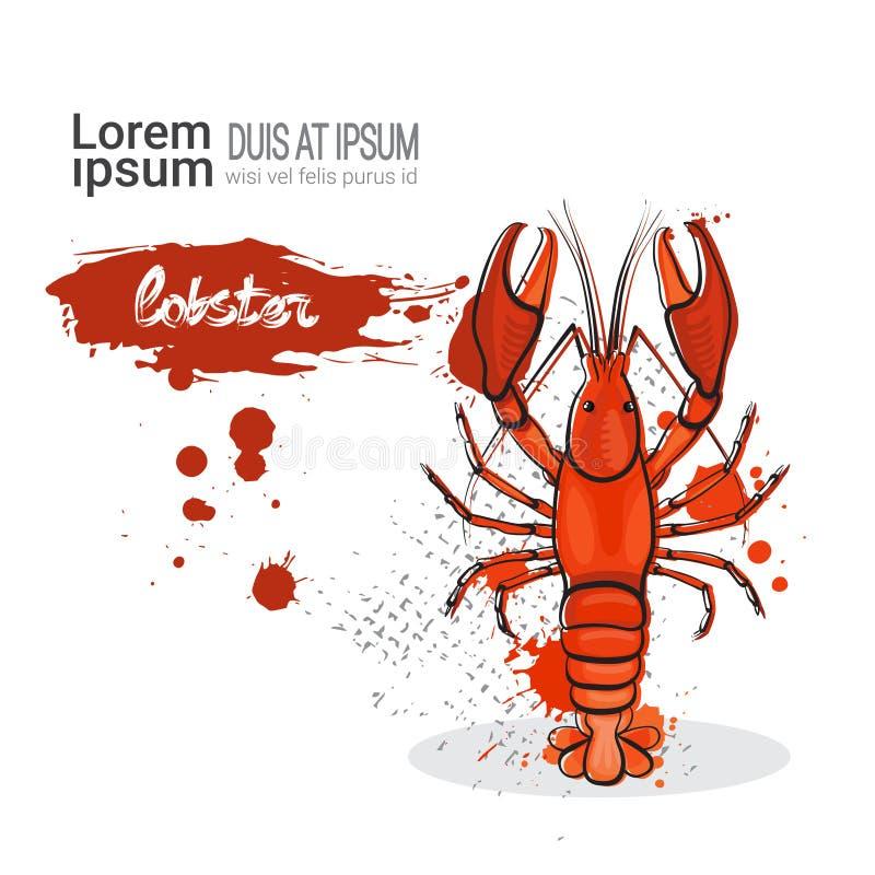 在白色背景的龙虾手拉的水彩海鲜与拷贝空间 库存例证