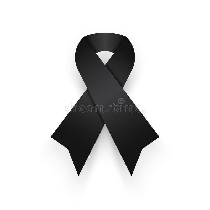 在白色背景的黑丝带 为泰国的国王哀悼通过  在和平的其它 皇族释放例证