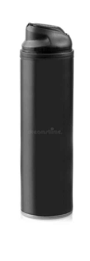 在白色背景的黑化妆botle 免版税库存图片