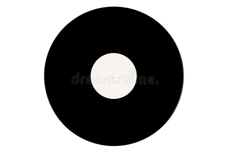 在白色背景的黑唱片 免版税库存照片