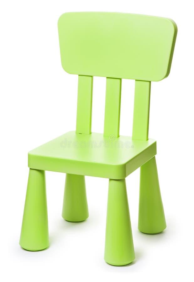 在白色背景的婴孩绿色塑料凳子 免版税库存图片