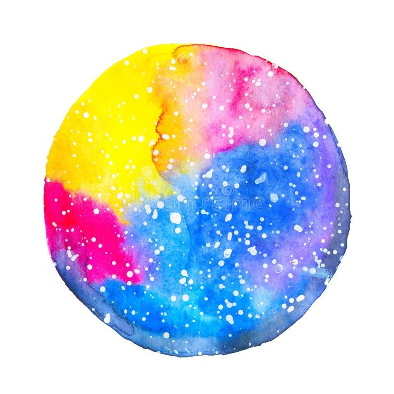 在白色背景的水彩圆的彩色空间 库存例证