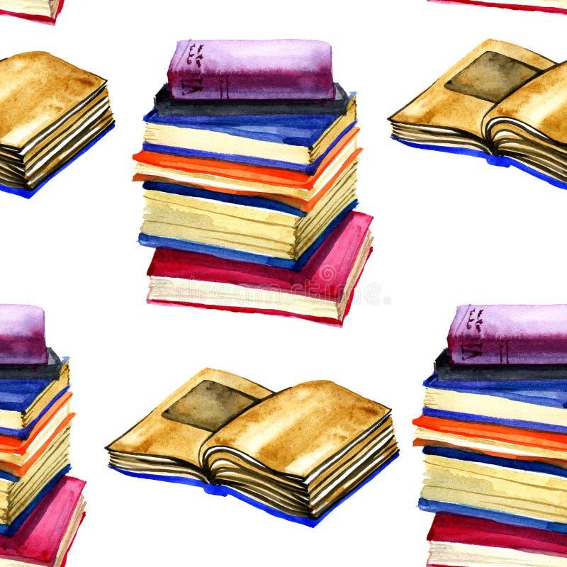 在白色背景的水彩开放书无缝的样式 水彩纹理 回到学校 库存例证