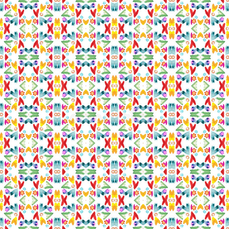 在白色背景的水彩抽象无缝的样式 心脏、漩涡和花无缝的样式 库存例证