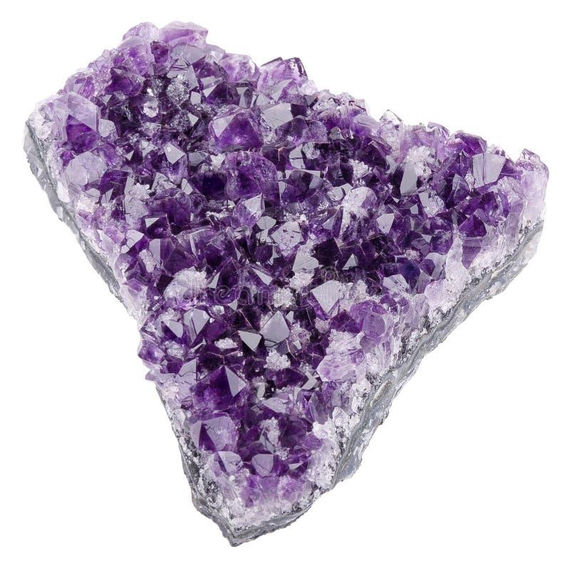 在白色背景的紫晶 免版税库存照片