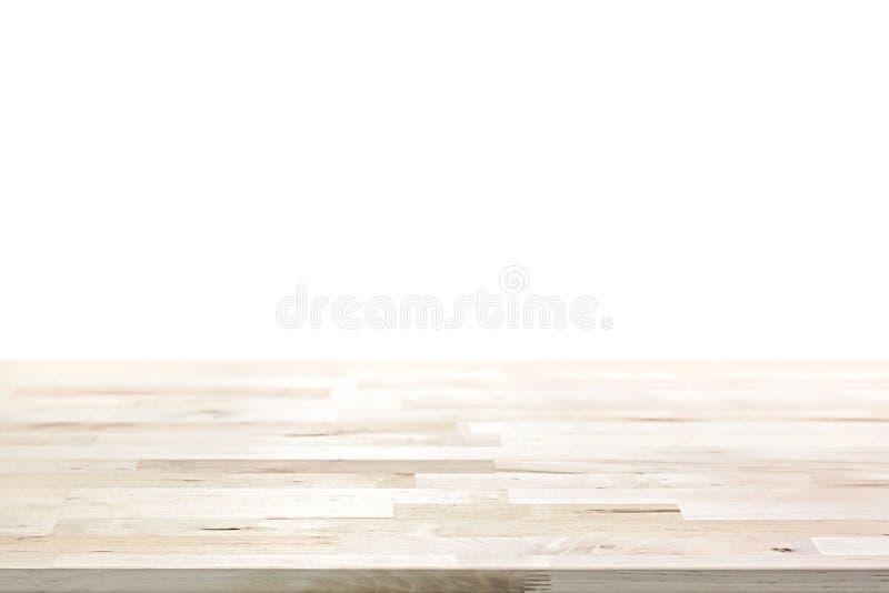 在白色背景的轻的木台式 免版税库存照片