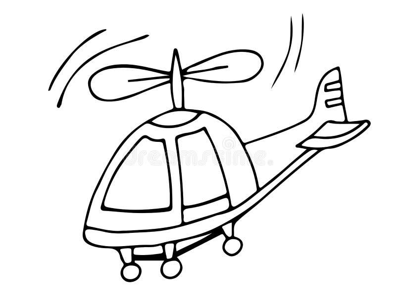 在白色背景的黑线直升机 皇族释放例证