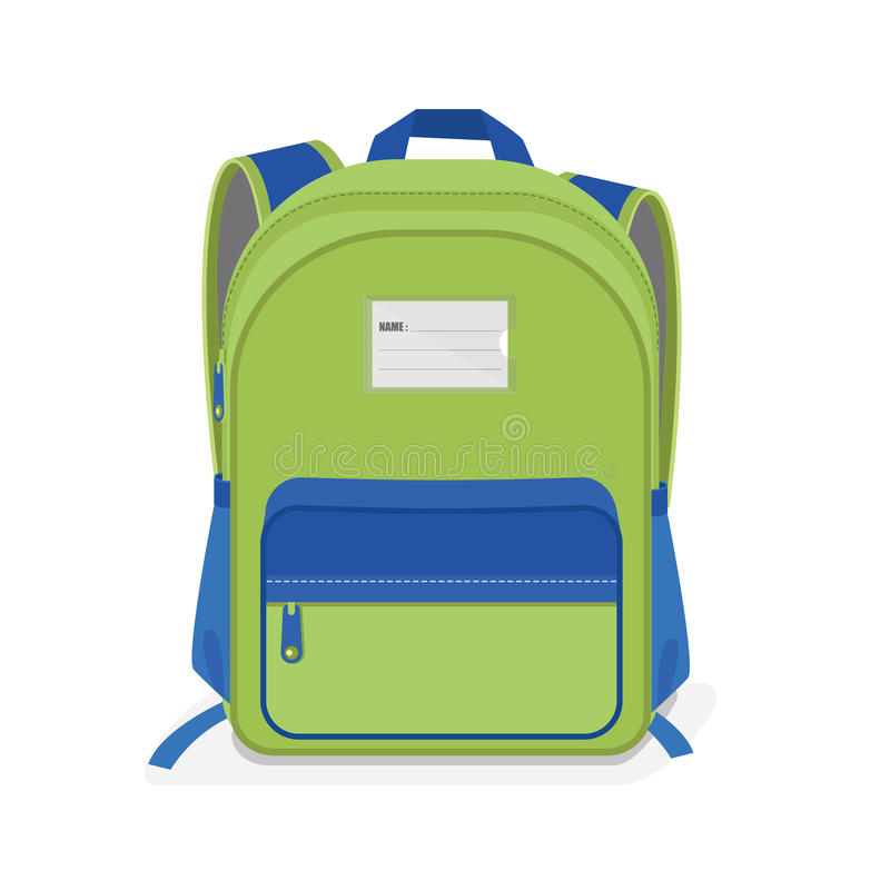 在白色背景的绿色和蓝色书包 向量例证