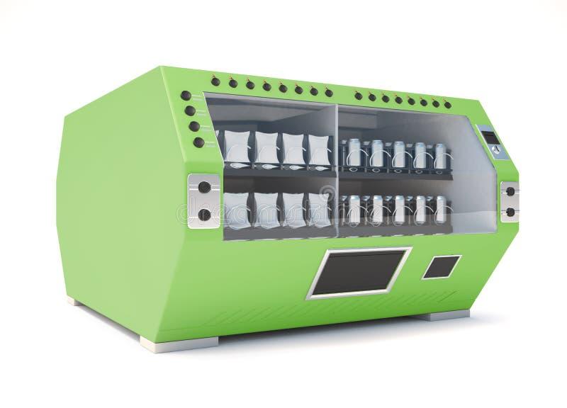 在白色背景的绿色自动售货机 3d回报im 向量例证