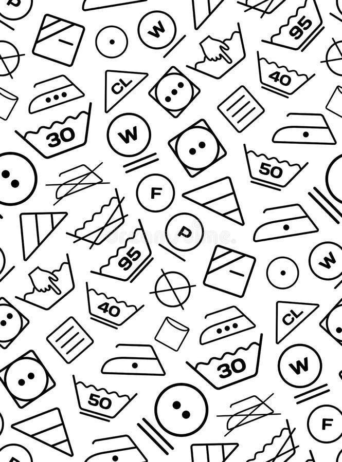 从在白色背景的洗衣店洗涤的标志创造的样式 库存例证