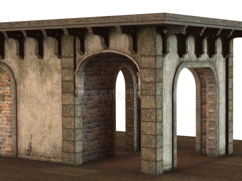 在白色背景的3D回报的中世纪亭子大厦 向量例证