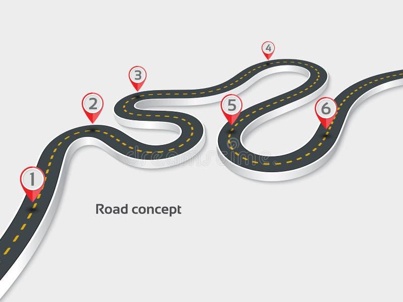 在白色背景的绕3d路infographic概念 向量例证