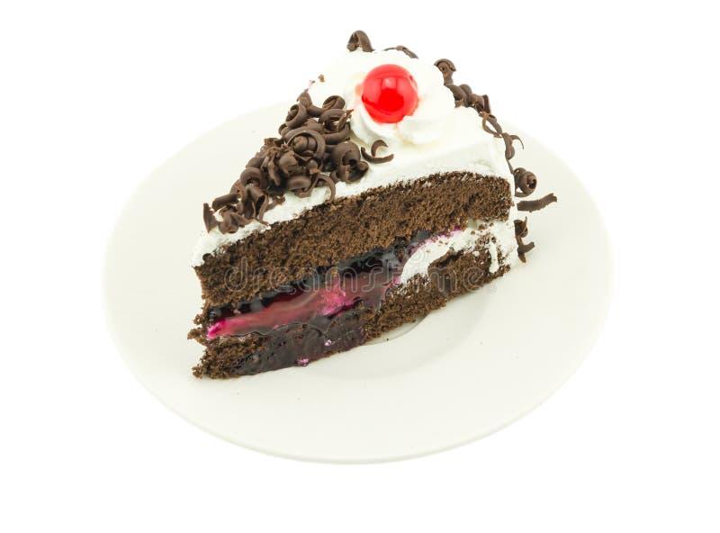 在白色背景的Blackforest蛋糕 库存图片